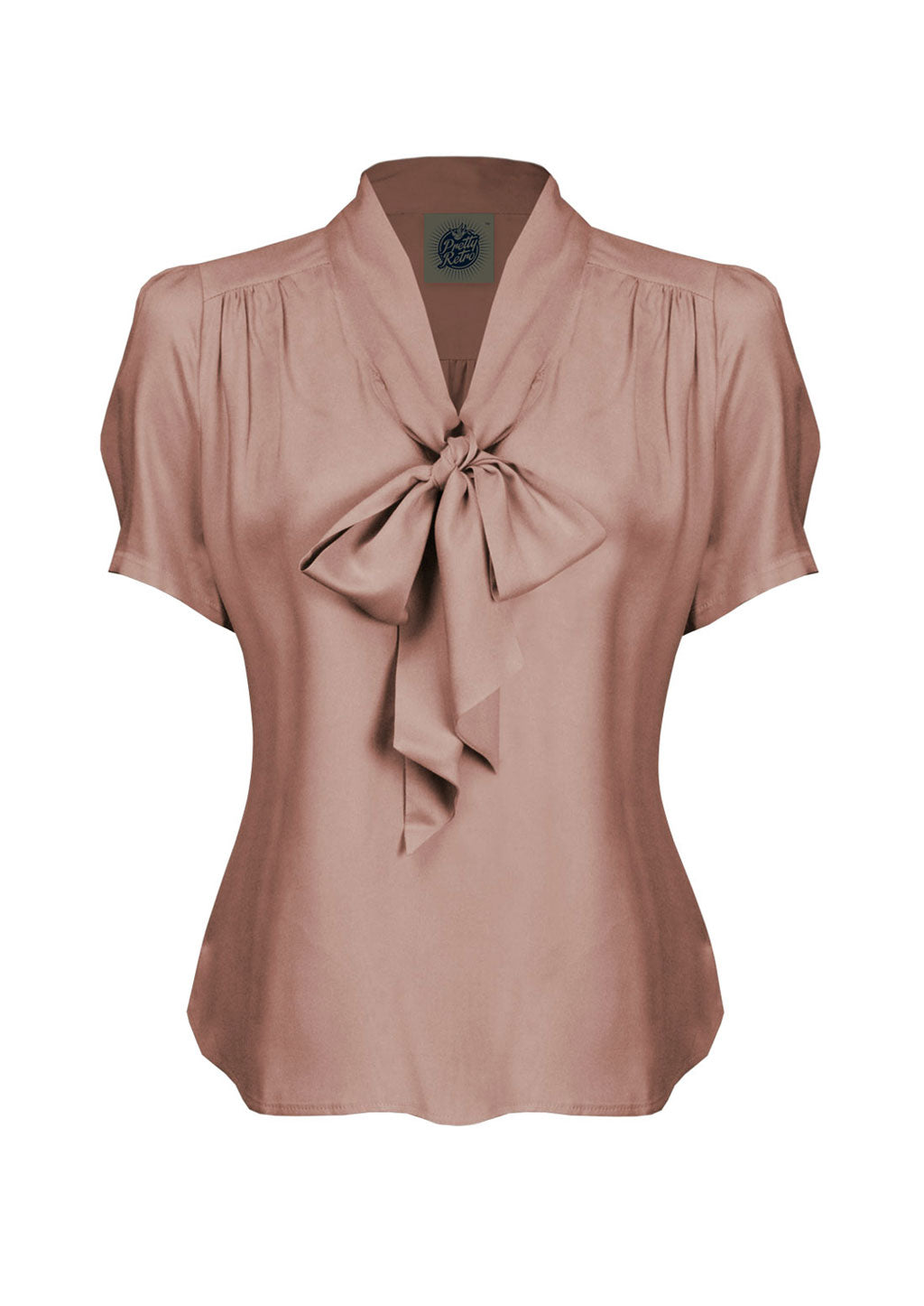 1940s and 50s Style Short Sleeve Pussy Bow Blouse In Pink   | Vintage Inspired | Weekend Doll