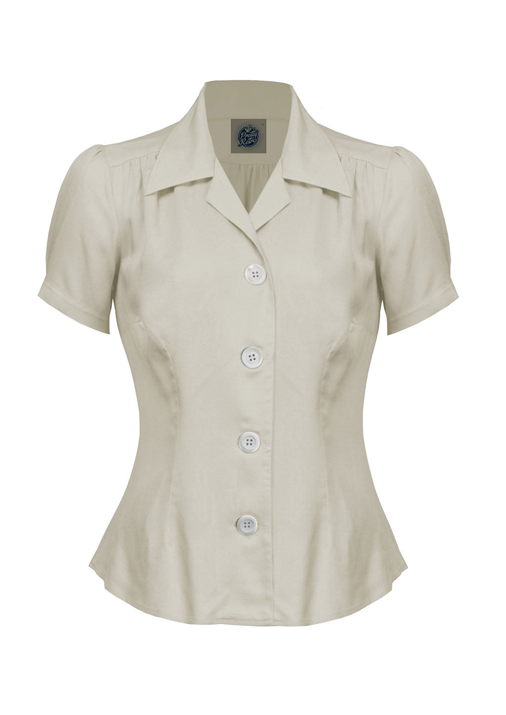Classic 40s style Ivory Short Sleeve Blouse | Vintage Inspired | Weekend Dol
