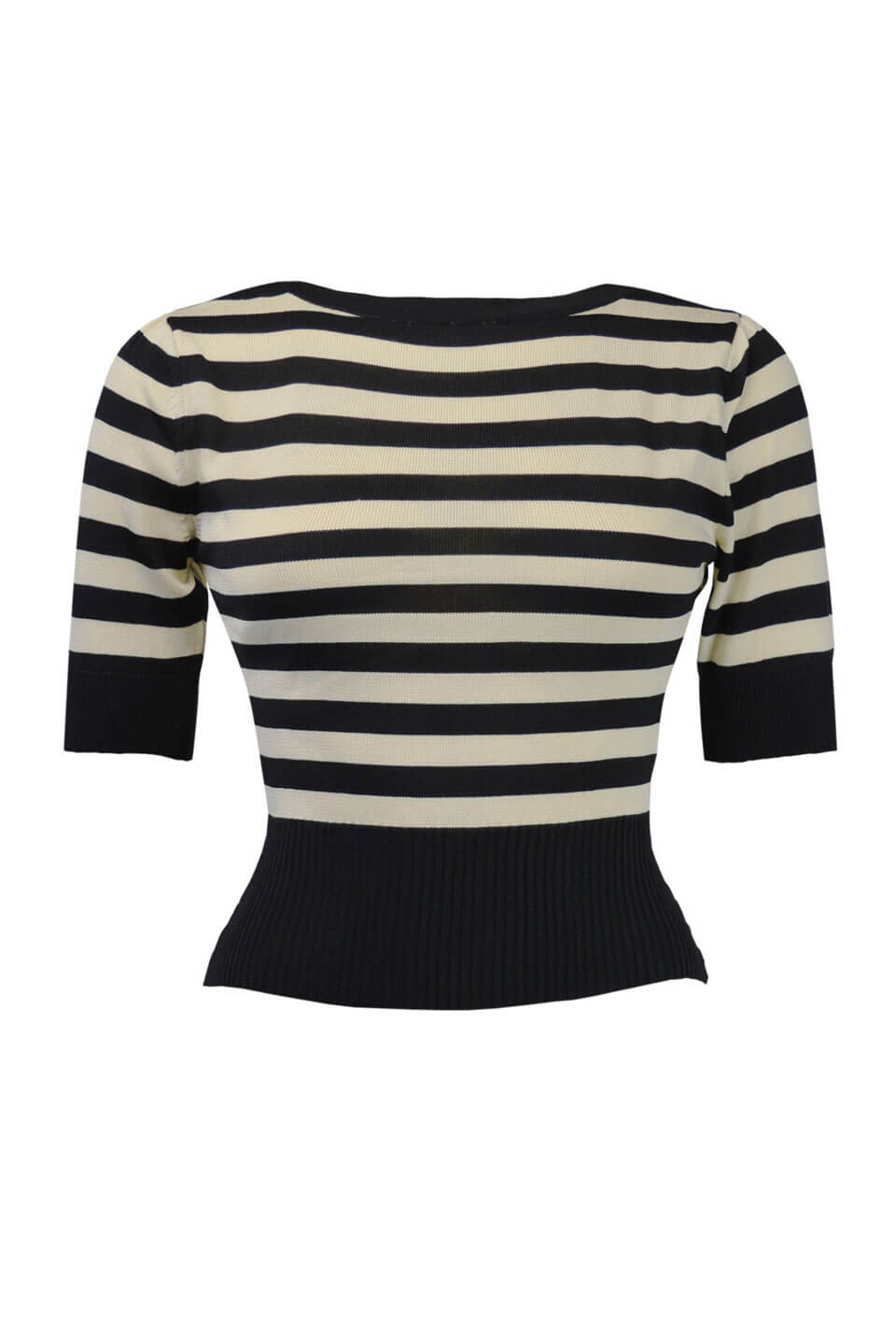 Black and Ivory Striped Boat Neck Jumper | 1930s & 40s Style | Weekend Doll