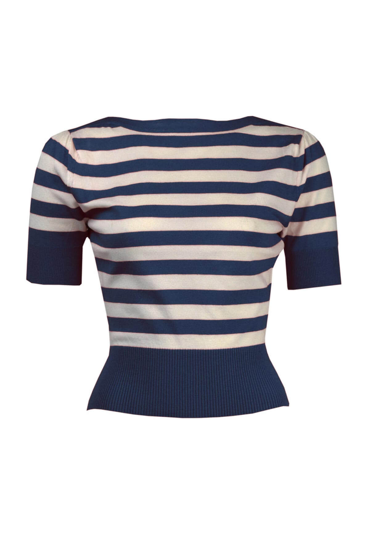 Navy and White Striped Boat Neck Jumper - Weekend Doll