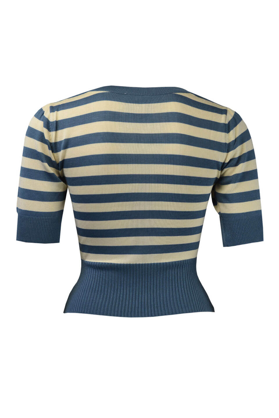 Light Blue and Ivory Striped Boat Neck Jumper By Pretty Retro | Retro Style | Weekend Doll