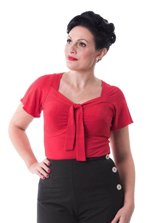 Retro Red Tie Front Short Sleeve Top | 1930s, 40s and 50s Style