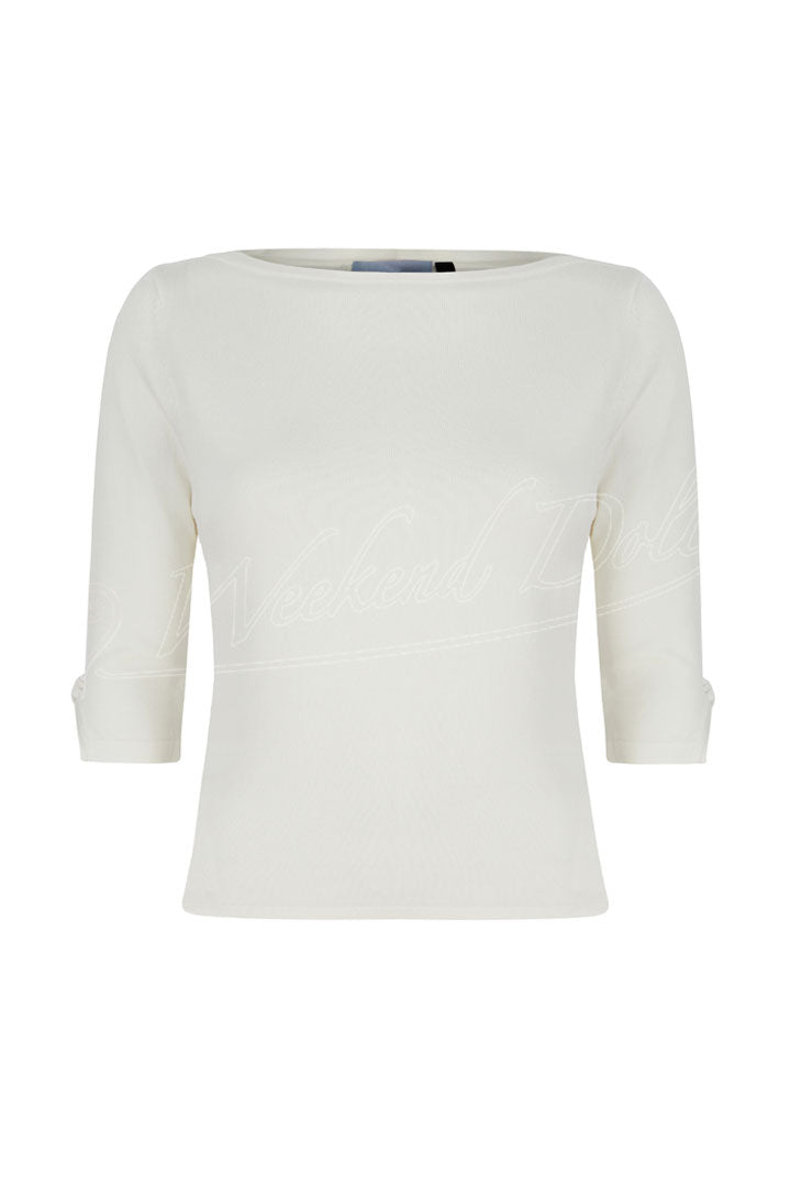 Boat Neck Quarter Sleeve Sweater In Cream