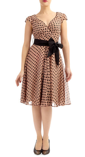 Red & Beige Polka Dot Regina Chiffon Swing Dress - Weekend Doll