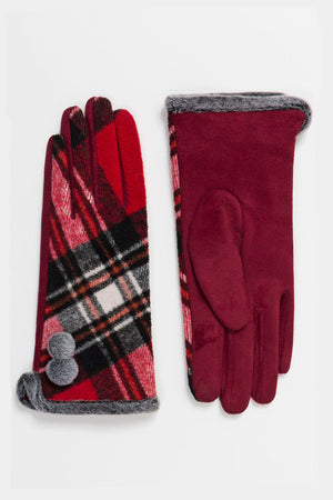 50s style tartan glove with grey fur trim and pom pom in red | Weekend Doll
