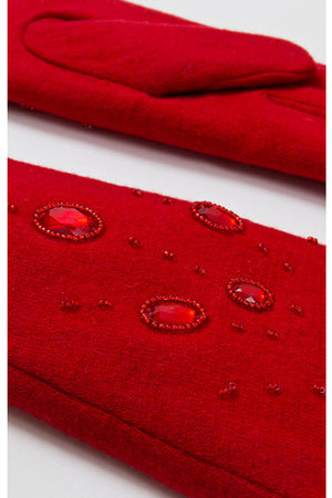 Piper Embellished Wool Gloves In Red