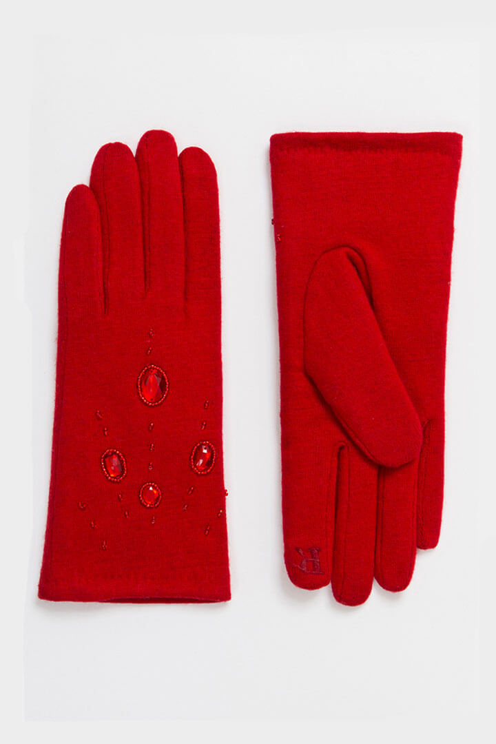 60s style embellished wool gloves in red | Weekend Doll