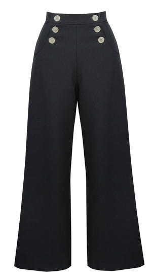 Vintage Style High Waist Sailor Trousers