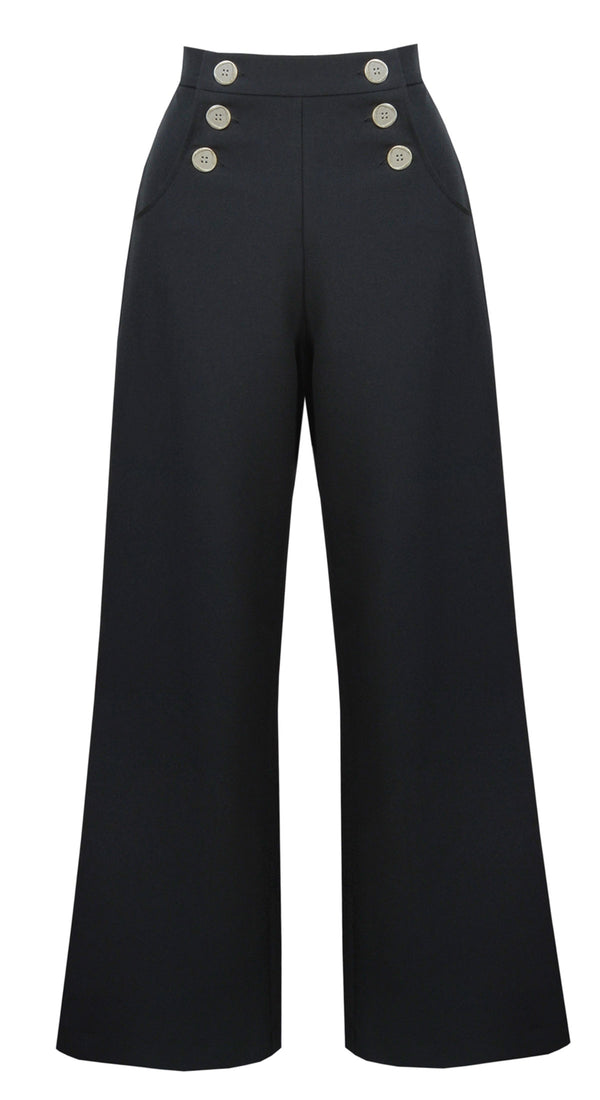 Vintage Style Black High Waist Wide Leg Trousers In Black