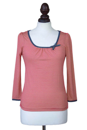 Red and White Striped Long Sleeve Top | 1950s Style