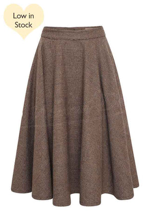 Classic Vintage Inspired Brown Check Wool Full Circle Swing Skirt | 1950s Style | Weekend Doll