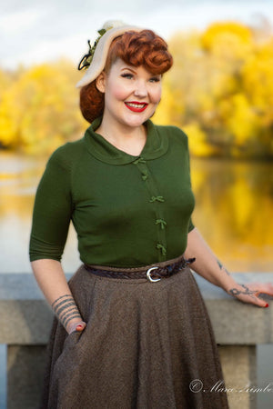 Vintage Inspired Sage Green Sweater & Cardigan With Bow Details -1950s style | Weekend Doll