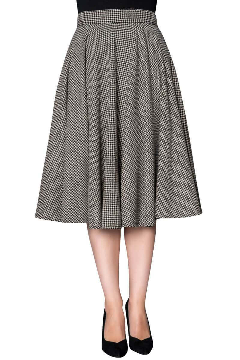 Classic Vintage Inspired Grey Houndstooth Wool Full Circle Swing Skirt | Weekend Doll