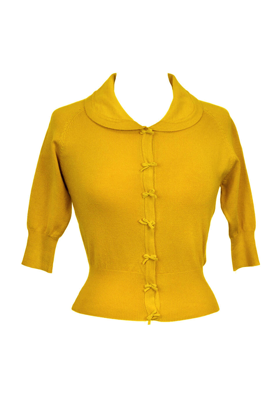 Cropped quarter length mustard yellow cardigan with bow details -1950s style | Weekend Doll