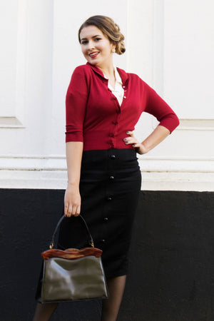 Cropped quarter length dark red cardigan with bow details -1950s style | Weekend Doll
