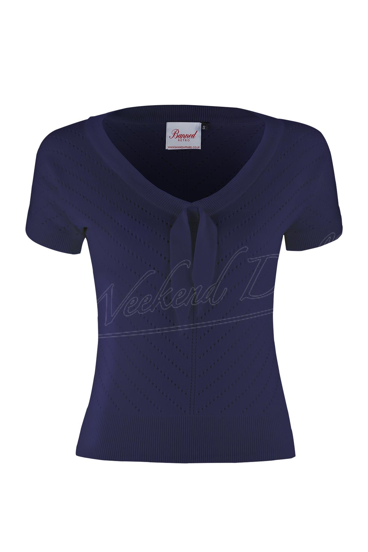 Retro V-neck Bow Pointelle Top in Navy