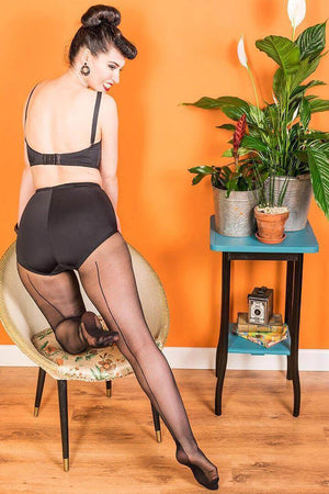 Vintage Style Black with Black Seam Tights | 1950s Style | What Katie Did