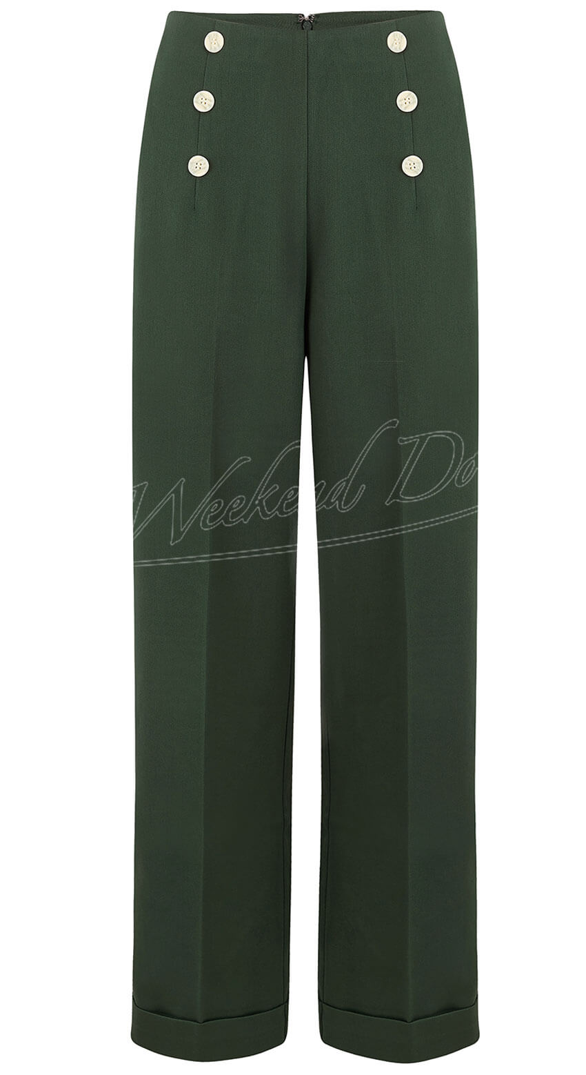 Banned Vintage inspired high waisted forest green wide leg trousers | 1940s style