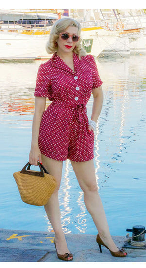 40s Playsuit In Wine Polka Dot