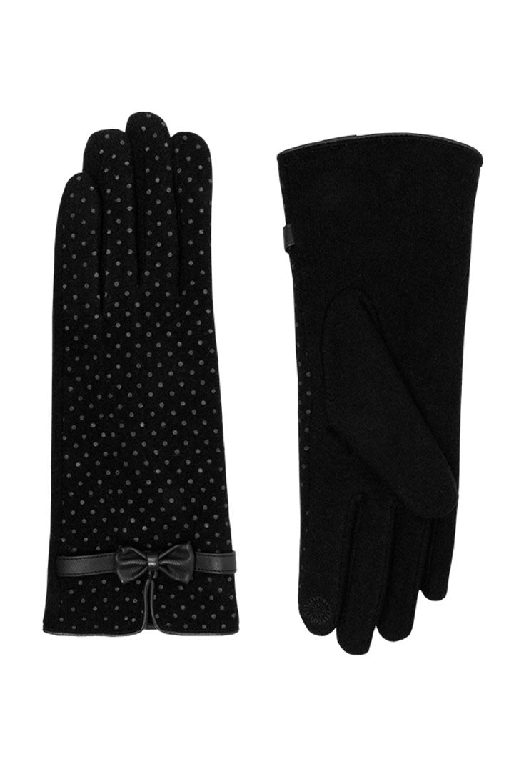 Black polka dot wrist length wool gloves with bow trim - Weekend Doll