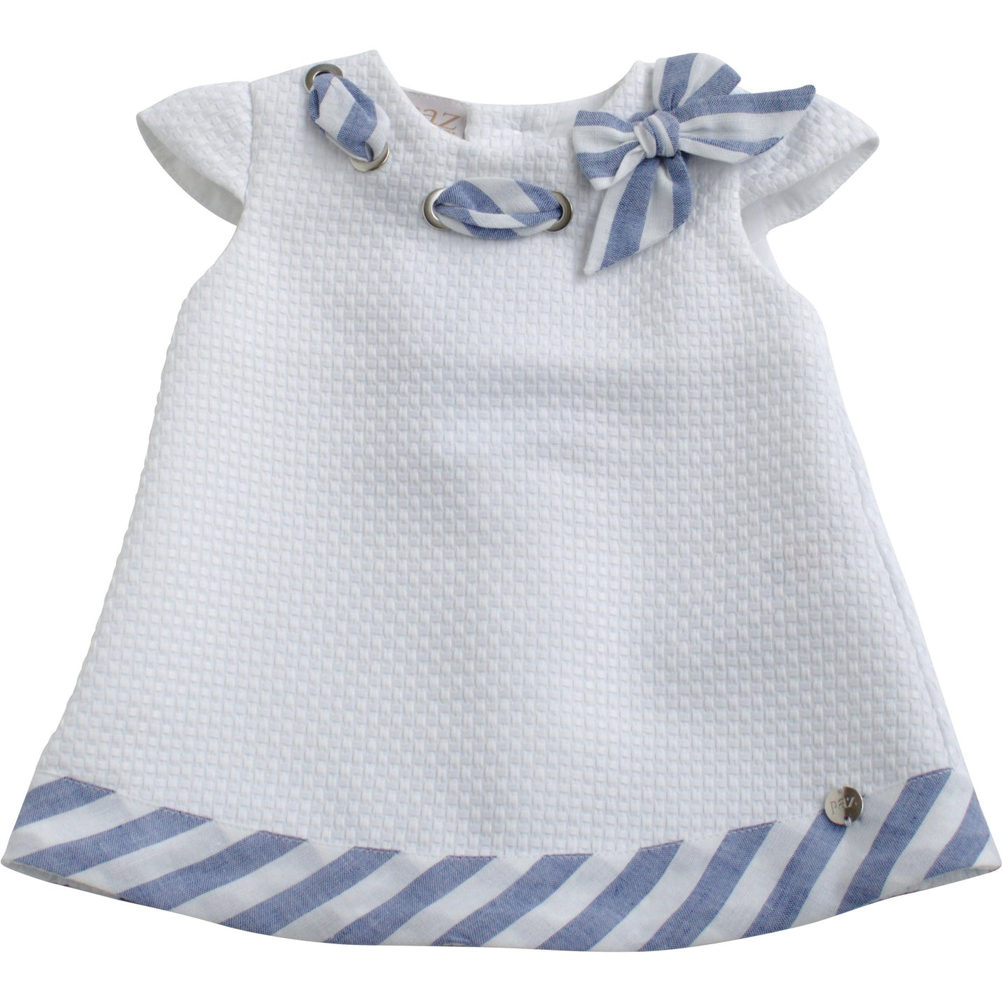 Paz Rodriguez Blue and White Dress with Bow Collar