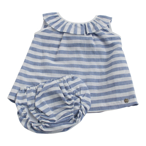 Paz Rodriguez Blue & White Striped Woven Dress with Matching Knickers