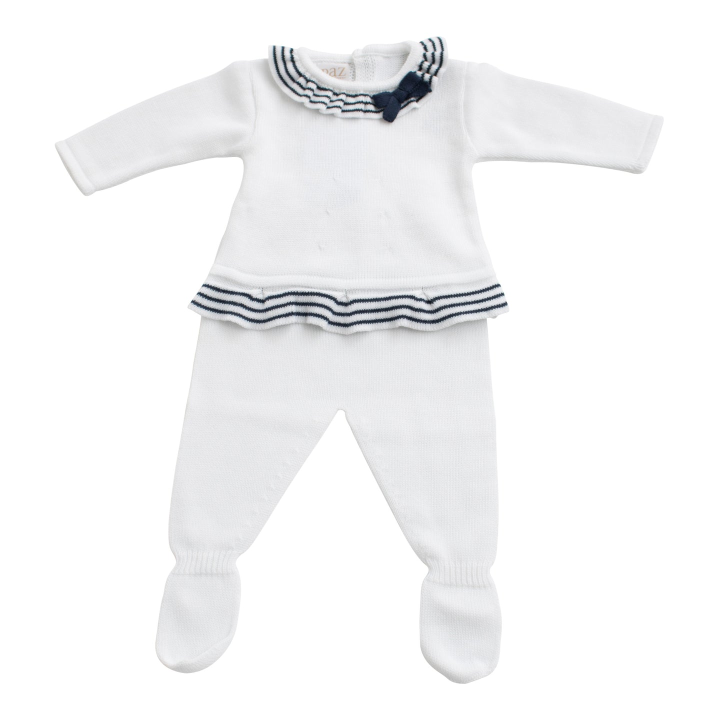 Paz Rodriguez Knitted Baby Navy & White 2 Piece Set