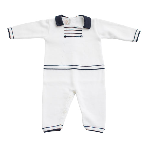 Paz Rodriguez Knitted Navy and White Baby Romper