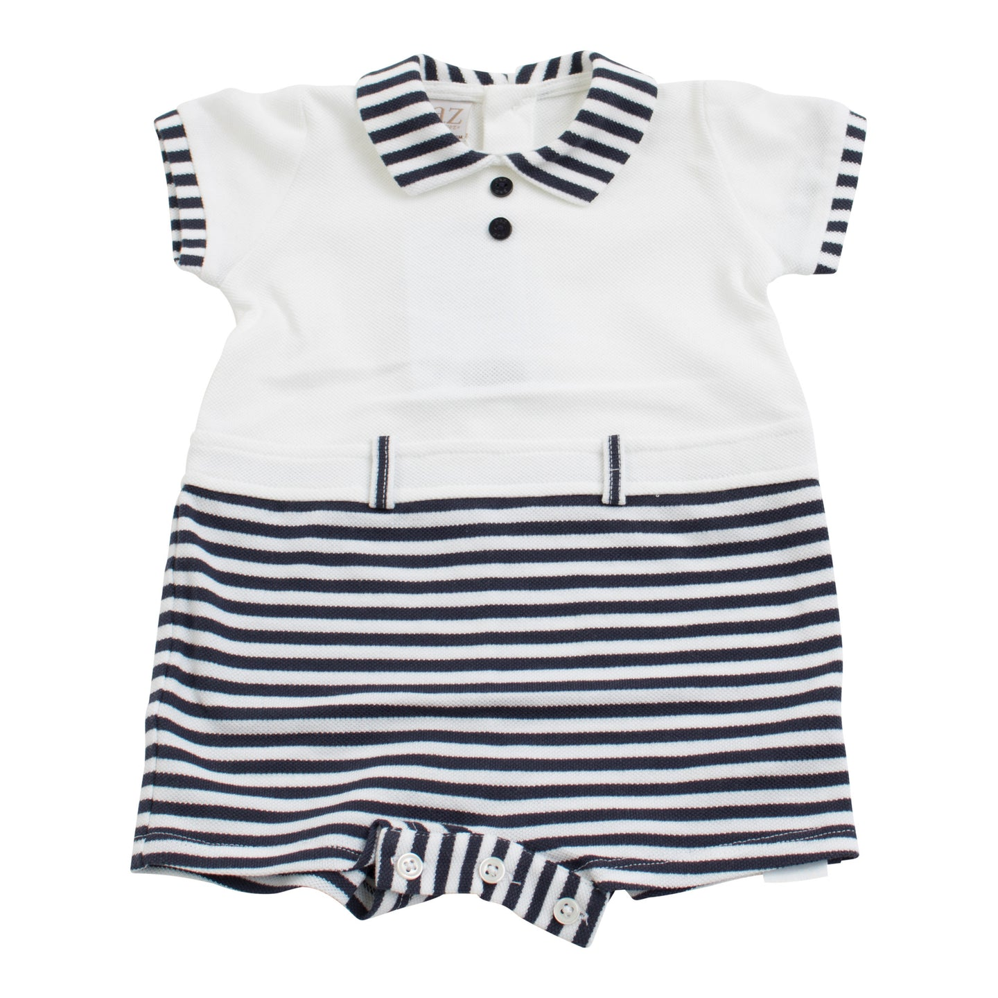 Paz Rodriguez Knitted Navy and White Baby Short Sleeve Romper
