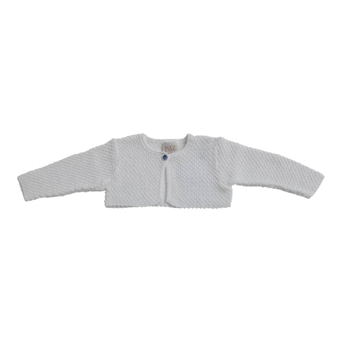 Paz Rodriguez Knitted Girls White Cropped Cardigan