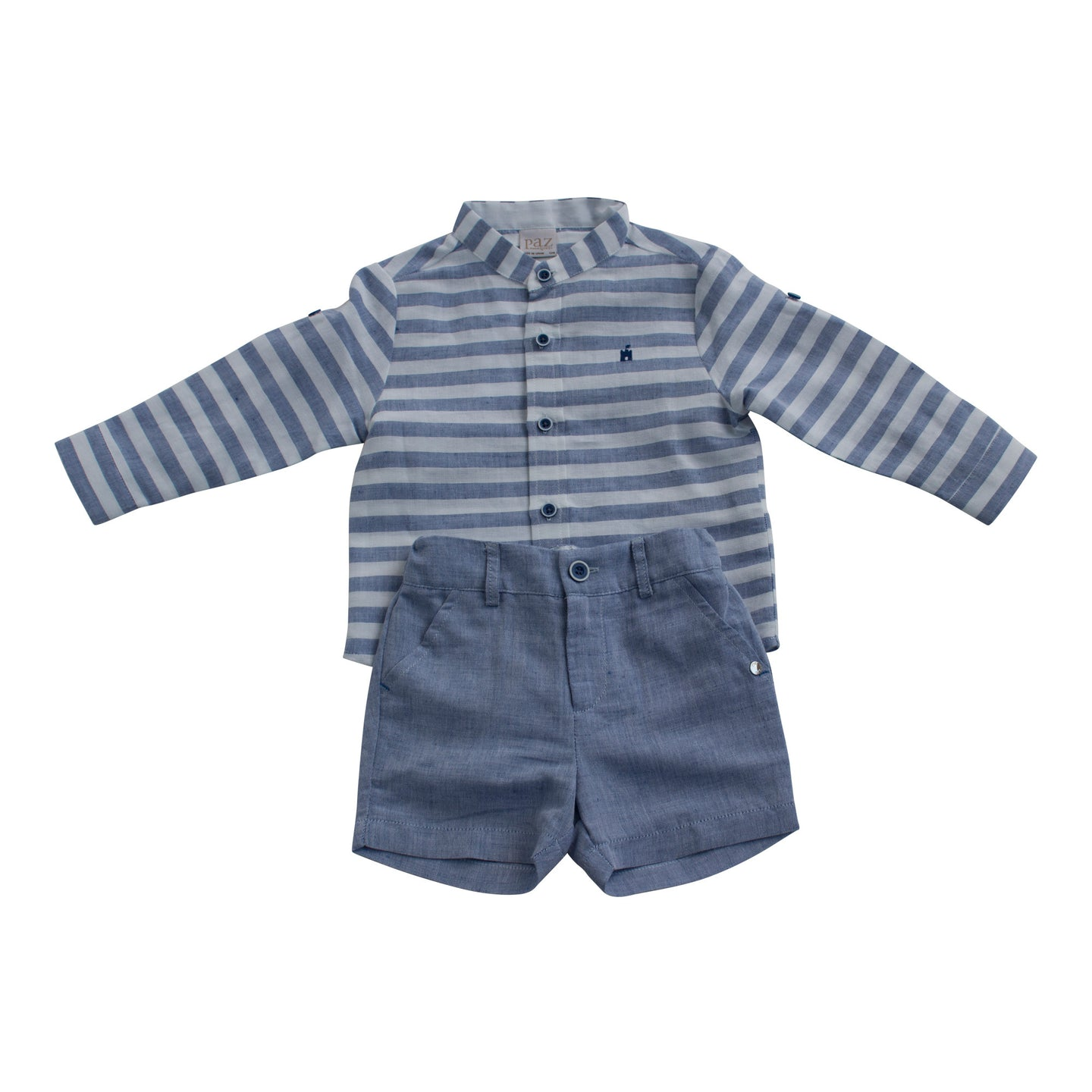 Paz Rodriguez Blue and White Infant Boys Striped Shirt and Short Set