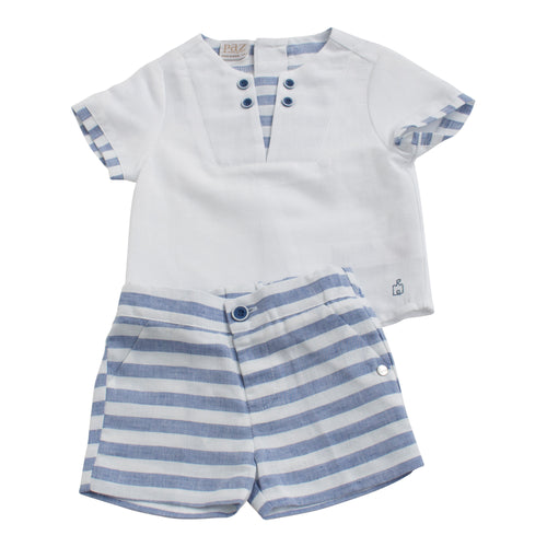 Paz Rodriguez Blue and White Infant Boy Short and Shirt Set
