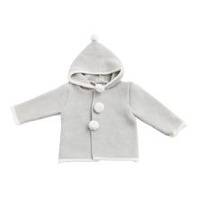 Paz Rodriguez Knitted Grey Baby Coat with White Pom Poms
