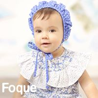 Foque Blue & White Frill Bonnet