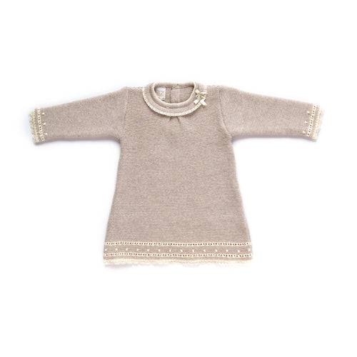 Paz Rodriguez Light Brown and Cream Knitted Dress