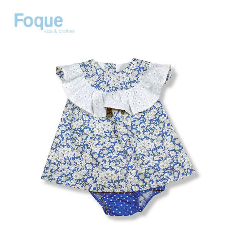 Foque Floral Blue & White Baby Dress With Frill Collar
