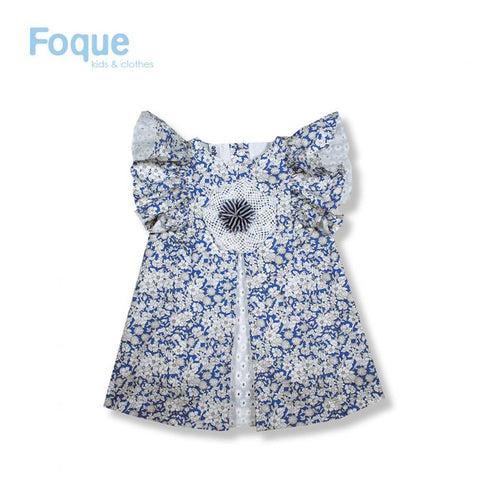 Foque White & Blue Floral Girls Dress With Frill Sleeve
