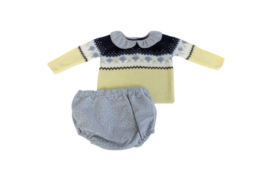 Foque Navy & Yellow Knitted Boys Outfit
