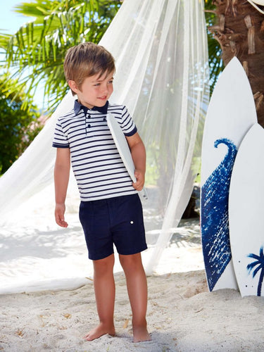 Paz Rodriguez Navy and White Stripe Boys 2 Piece Outfit