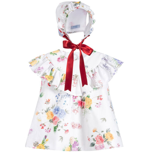 Foque Floral Baby Girls Dress & Bonnet Set