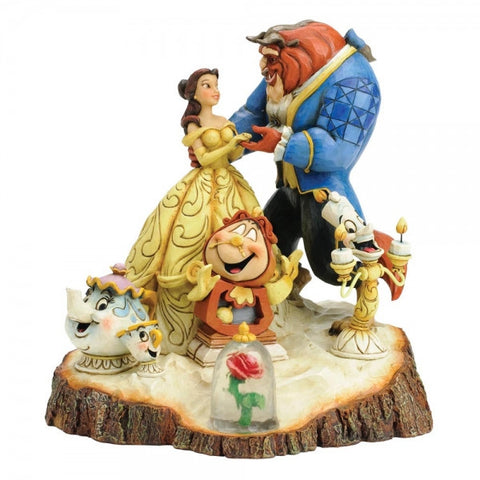 Beauty & The Beast Tale as Old as Time Carved Figurine | Bear Bottom