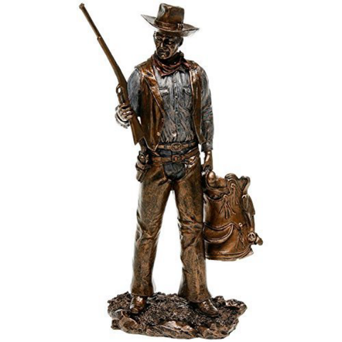 John Wayne Standing Holding Gun & Saddle Bronze Statue | Bear Bottom