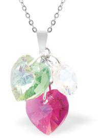 Swarovski Crystal Fuchsia Pink and Peridot Green Hearts Necklace