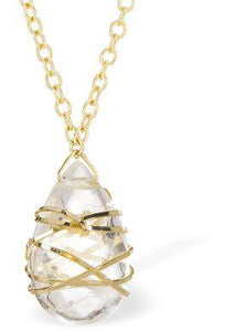 Gilded Quartz 24 Carat Gold Plated Moonstone Necklace