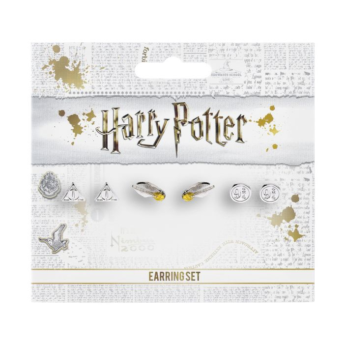 Harry Potter Stud Earring Set Snitch/ Deathly Hallows/ Platform 9 3/4-