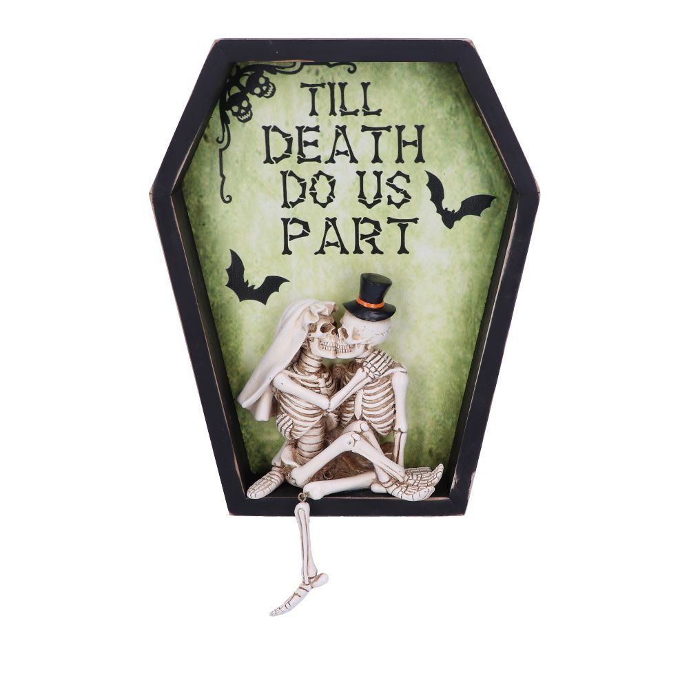 Till Death Do Us Part 31.3cm Till Death Do Us Part Skeleton Bride and Groom Wall Plaque