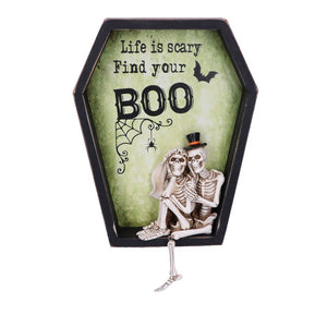 Life is Scary Find Your Boo 31.3cm Life is Scary Find Your Boo Skeleton Bride and Groom Wall Plaque
