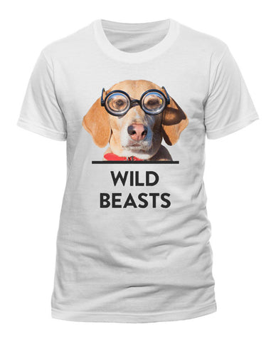'Dog Glasses' Mens White T-Shirt