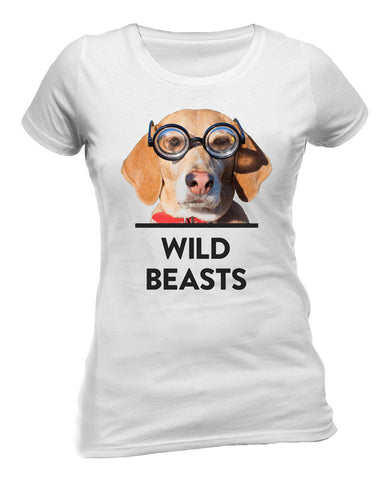 'Dog Glasses' Ladies White T-Shirt
