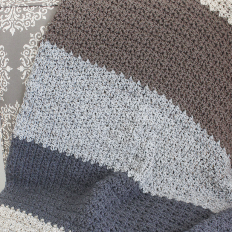 Neutral Striped Blanket PDF Crochet Pattern - Digital Download